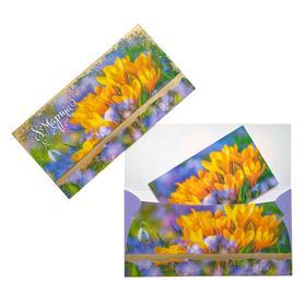 """Конверт для денег """"8 Марта!"""" фольга, желтые и сиреневые цветы"""