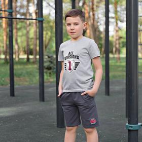 Футболка для мальчиков, рост 146 см, цвет серый