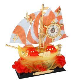 """Часы-светильник """"Корабль на волнах"""", настольные, 36х34 см"""