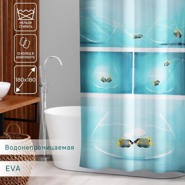 Штора для ванной комнаты Доляна «Аквариум», 180×180 см, EVA