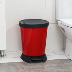 Ведро для мусора с педалью, 18 л, цвет красный
