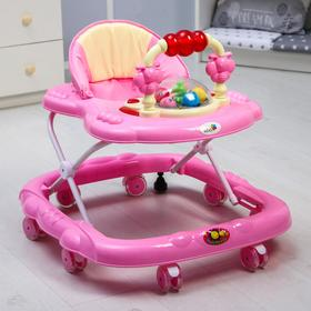 Ходунки «Маленькие друзья», 8 силик. колес, муз., свет, игрушки, розовый