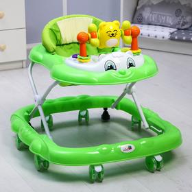 Ходунки «Мишутка», 8 силик. колес, муз., свет, игрушки, зеленый