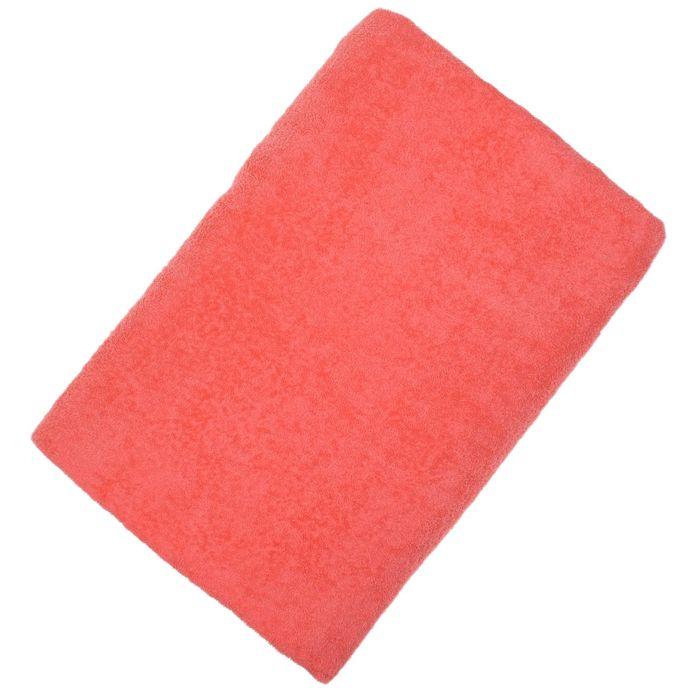 Простыня махровая, однотонная, цвет коралловый, 150х220 см