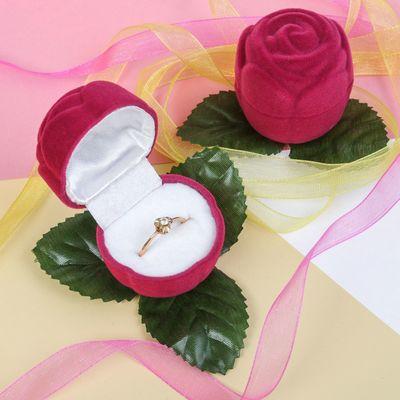 "Футляр под кольцо ""Роза"", 5*5*5, цвет розовый, вставка белая"
