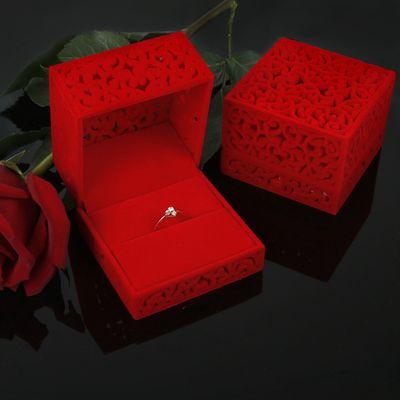 """Футляр под кольцо """"Резной куб"""", 6*6*4,5, цвет красный"""