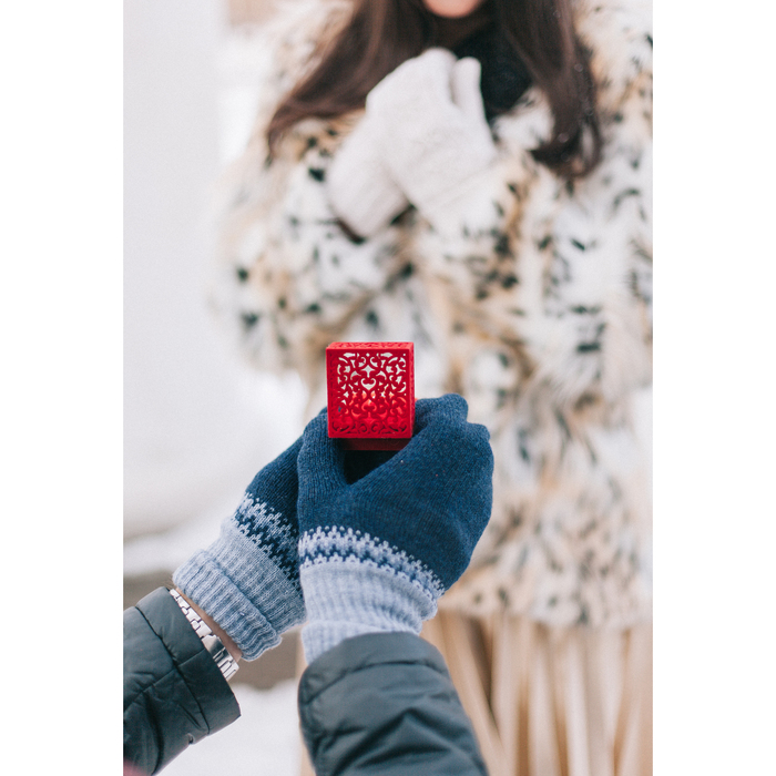 """Футляр под кольцо """"Резной куб"""", 6*6, цвет красный - фото 415552368"""
