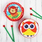 Музыкальная игрушка «Барабан», с рисунком, цвета микс, бумажная мембрана - фото 106524147