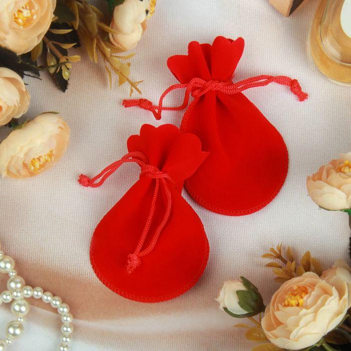 Мешочек бархатный, универсальный, 9*7,5 цвет красный