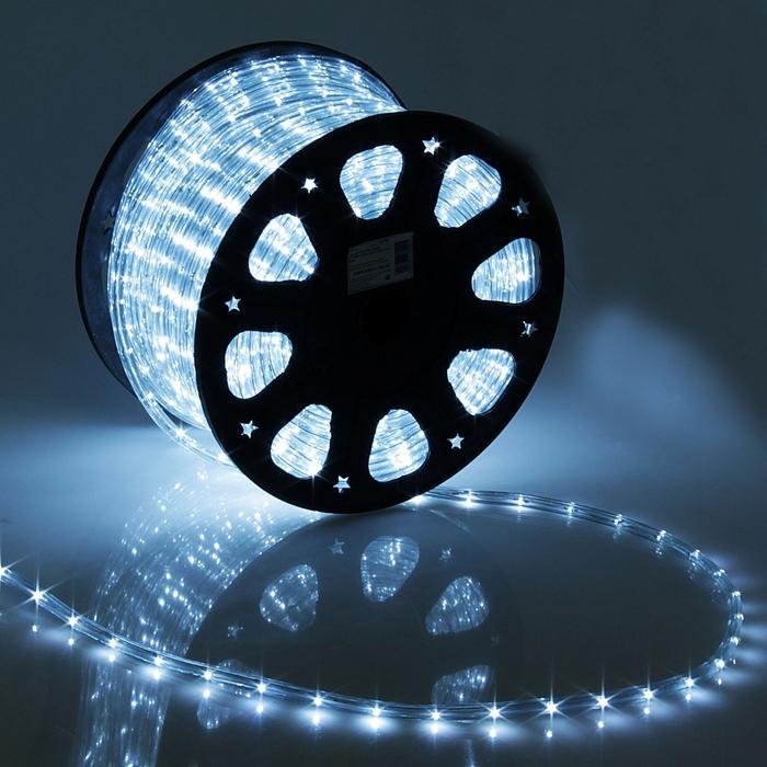LED шнур 11 мм, круглый, 100 м, фиксинг, 2W-LED/м-24-220V, в компл. набор д/подкл, БЕЛЫЙ - фото 1572319