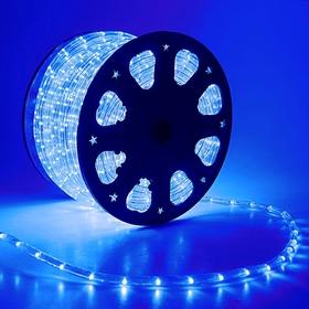 LED шнур 11 мм, круглый, 100 м, фиксинг, 2W-LED/м-24-220V в компл. набор д/подкл. Синий
