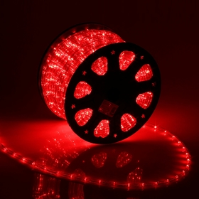 LED шнур 11 мм, круглый, 100 м, фиксинг, 2W-LED/м-24-220V, в компл. набор д/подкл, КРАСНЫЙ Ош