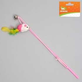 """Дразнилка-удочка """"Цветная мышка"""", 32 см, микс цветов"""