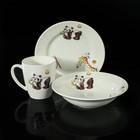 """Набор детской посуды """"Зоопарк"""", 3 предмета: тарелка d=17,5 см, миска 250 мл (d=17,5 см), кружка 260 мл"""