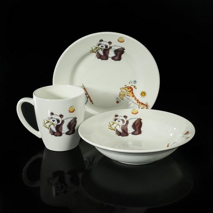 """Набор детской посуды """"Зоопарк"""", 3 предмета: тарелка 17,5 см, миска 250 мл (d=17,5 см), кружка 260 мл"""