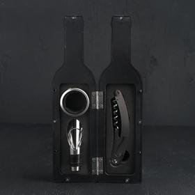 """Набор для вина """"Бутылка"""" 3 предмета: штопор, воронка, кольцо"""