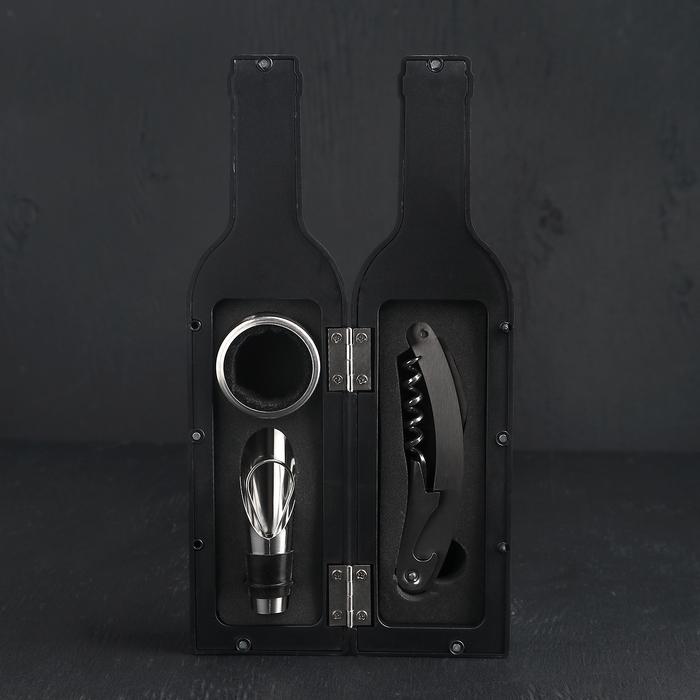 Набор для вина «Бутылка», 3 предмета: штопор, воронка, кольцо - фото 699289