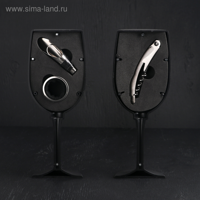 "Набор для вина ""Бокал"", 3 предмета: кольцо, каплеуловитель, штопор"
