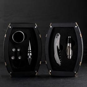 Набор для вина «Бочонок», 5 предметов: каплеуловитель, штопор, пробка, нож для срезания фольги, кольцо