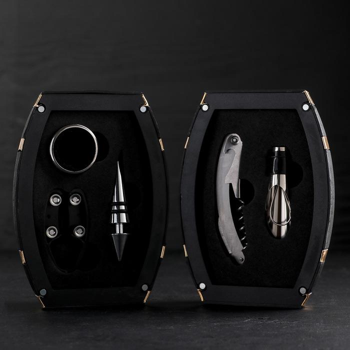 """Набор для вина """"Бочонок"""", 5 предметов: каплеуловитель, штопор, пробка, нож для срезания фольги, кольцо"""
