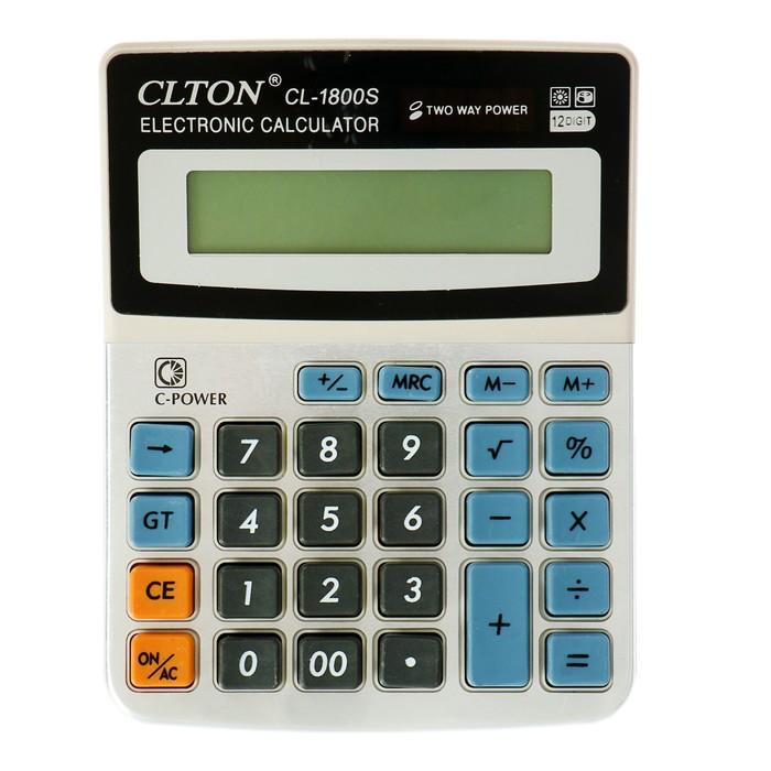 Калькулятор настольный, 12-разрядный, CL-1800S, Clton, двойное питание, МИКС