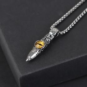 """Кулон-амулет """"Помпеи"""" кинжал с оком, цвет жёлтый в чернёном серебре, 70 см"""