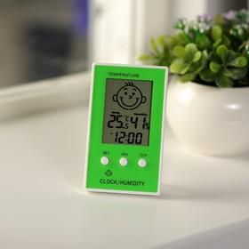 Термометр электронный, 10х6 см, указатель влажности, часы МИКС Ош