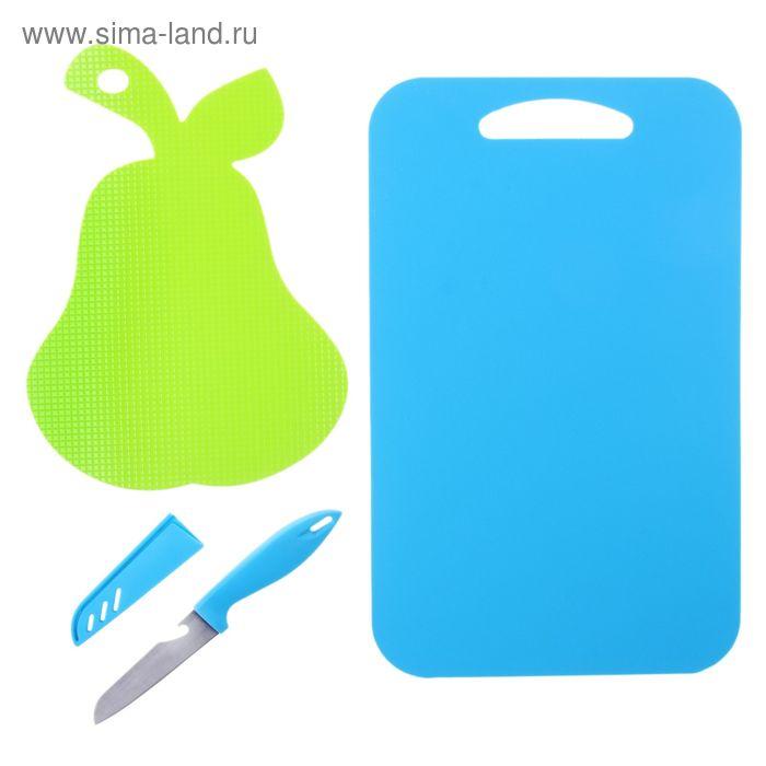 Набор из 2-х разделочных противоскользящих досок и ножа, цвет МИКС