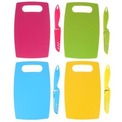 Набор кухонный, 2 предмета: доска разделочная противоскользящая прямоугольная 25х15 см, нож, цвета МИКС