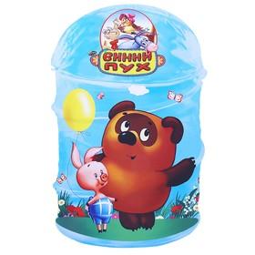 Корзина для игрушек «Винни Пух» с крышкой и ручками, цвет голубой, в пакете