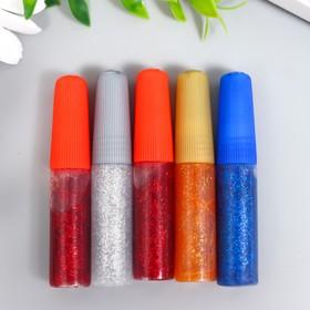 Глиттер цветной (клеевой) набор 5 шт (5 грамм 1 тюбик)