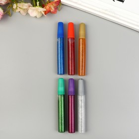 Глиттер цветной (клеевой) набор 6 шт (10 грамм 1 тюбик)