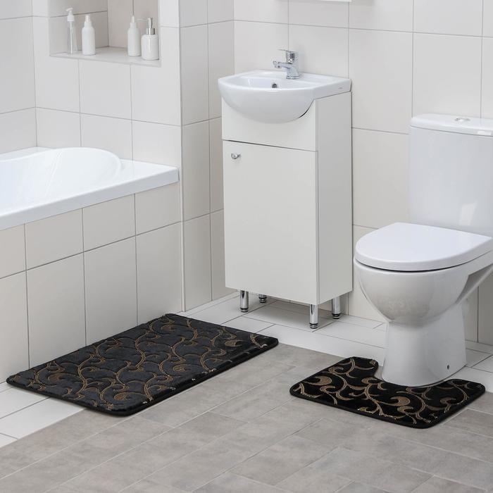 Набор ковриков для ванны и туалета Доляна «Вензель», 2 шт: 40×50, 50×80 см, цвет чёрный
