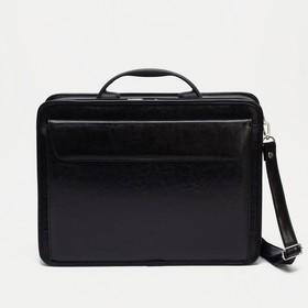 Портфель мужской, 3 отдела на молнии, длинный ремень, наружный карман, цвет чёрный