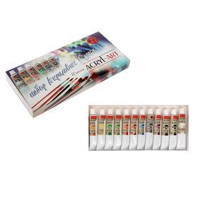 Краска акриловая в тубе, набор 12 цветов, 18 мл, ТАИР «Акрил-Арт»