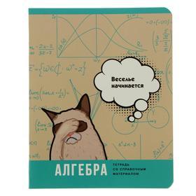 """Тетрадь предметная """"Веселье начинается"""", 40 листов в клетку """"Алгебра"""", обложка мелованный картон, блок офсет"""