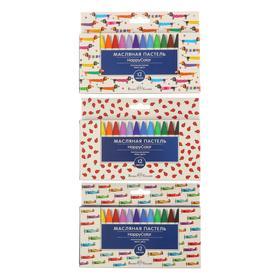 Мелки пастельные 12 цветов HappyColor, на масляной основе, МИКС