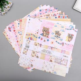 """Набор бумаги для скрапбукинга """"Папа и дочка""""  30,5х30,5 см 190гр/м 12 листов"""
