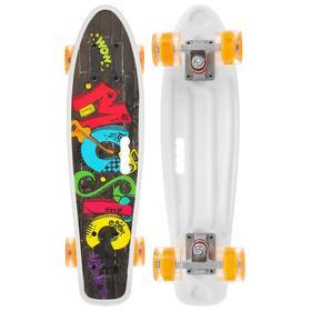 Скейтборд с ручкой 55 × 14 см, колёса световые PU 60 × 45 мм, ABEC 7, алюминиевая рама