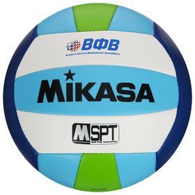 Мяч волейбольный пляжный MIKASA VXS-BFL, размер 5, синтетическая кожа (ТПУ), ВФВ, 18 панелей, машинная сшивка, бутиловая камера, цвет синий