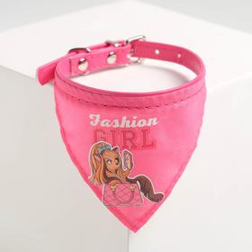 Ошейник с платком Fashion girl 32 х 1 см, розовый