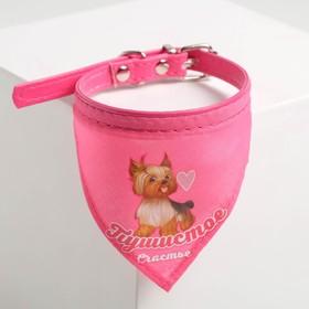 Ошейник с платком «Пушистое счастье» 32 х 1 см, розовый
