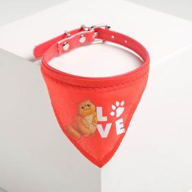 Ошейник с платком Love 32 х 1 см, красный