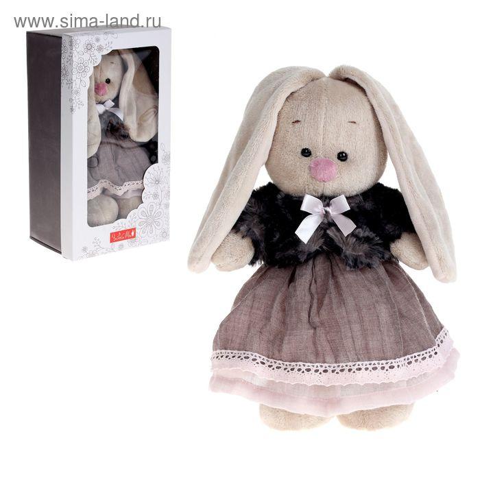 Мягкая игрушка «Зайка Ми» в тигровой шубке и сером платье, малый