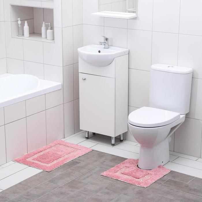 Набор ковриков для ванны и туалета Доляна «Вензель», 2 шт: 40×40, 40×60 см, 900 г/м2, 100% хлопок, цвет розовый