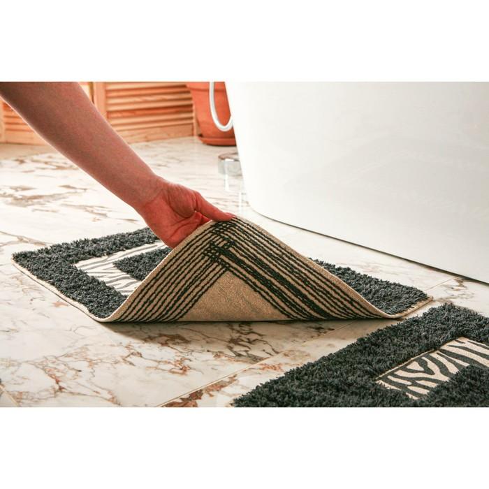 Набор ковриков для ванны и туалета Доляна «Зебра», 2 шт: 40×40, 40×60 см, 900 г/м2, 100% хлопок