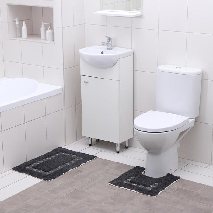 Набор ковриков для ванны и туалета Доляна «Кактус», 2 шт: 40×40, 40×6 см0, 900 г/м2, 100% хлопок, цвет чёрный