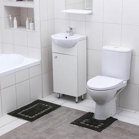Набор ковриков для ванны и туалета Доляна «Кактус», 2 шт: 40×40, 40×6 см0, 900 г/м2, 100% хлопок, цвет хвойный