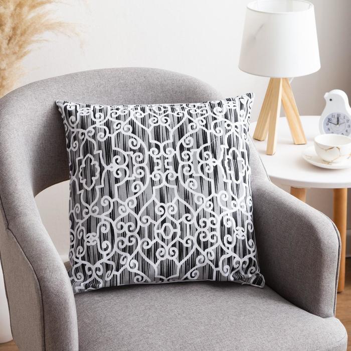 Наволочка декоративная 40х40 см, Pattern black, 100% хлопок - фото 7404226