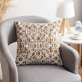Наволочка декоративная 40х40 см, Pattern beige, 100% хлопок - фото 7404230